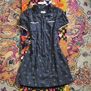 Vintage 90's does 50's floral checked dress